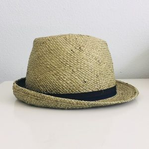 Straw Trilby Hat w/ black band
